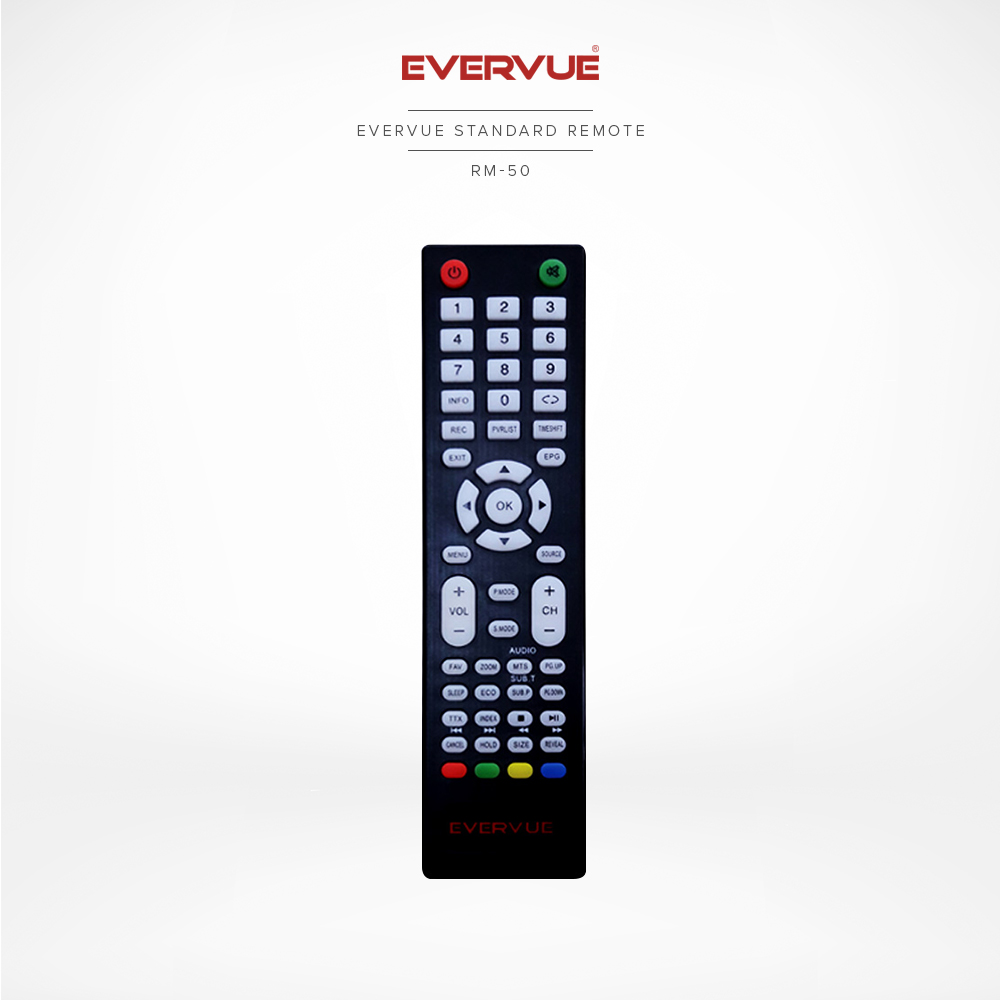 Evervue 标准电视遥控器 ( 黑色) (RM-50)