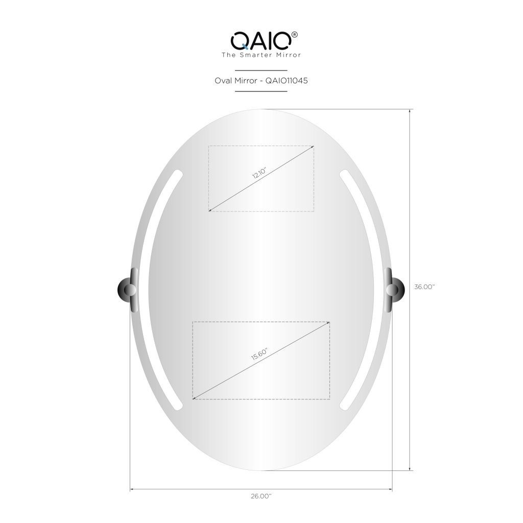 "QAIO Oval 26″ wide x 36"" high, with 15.6"" TV (QAIO11045)"